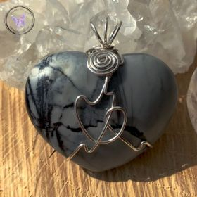 Picasso Jasper Heart Sterling Silver Wire Wrapped Pendant